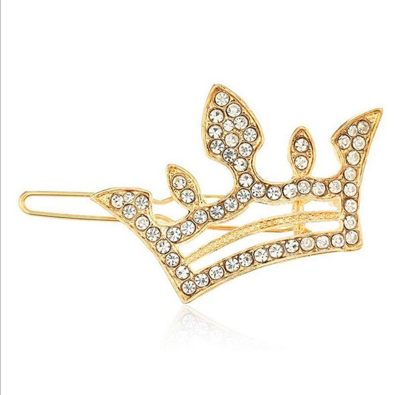 12 ADET Moda Saç Takı Gümüş Altın Kaplama Kristal Rhinestone Saç Pin Klip Diamante Saç Barrette Mini Kızlar Taç Tiara