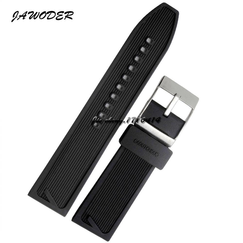 Jahandler pulseira 24mm homens preto à prova d 'água de mergulho de borracha de silicone pulseira de relógio pulseira de aço inoxidável pin fivela de prata para b-r-e assistir
