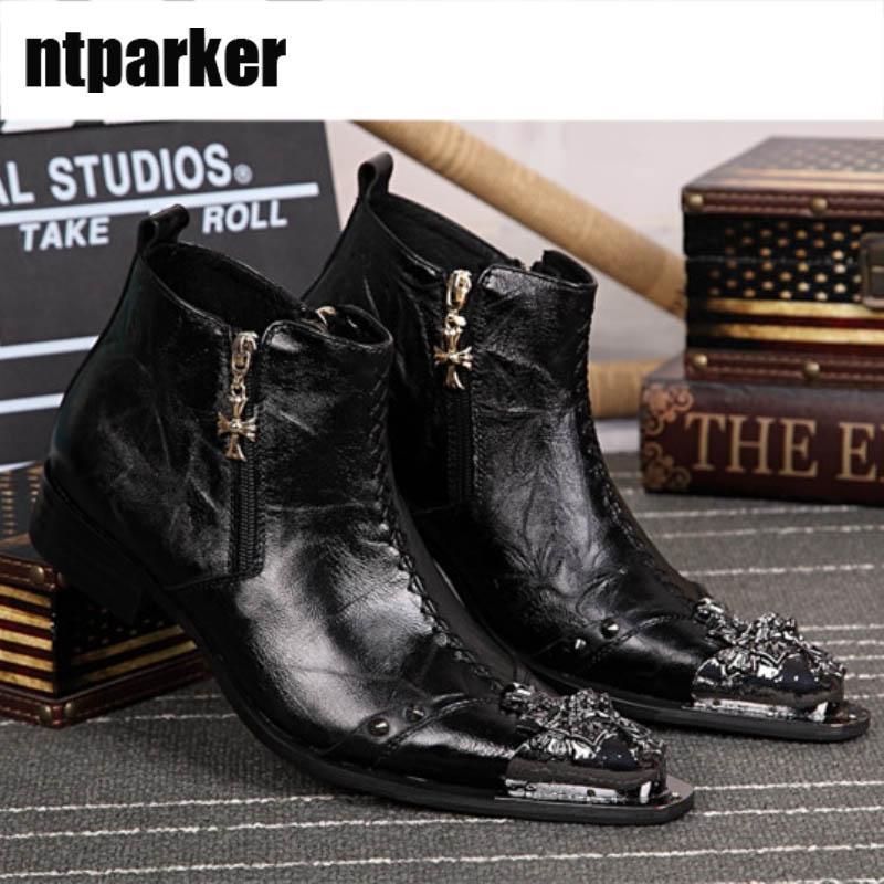 Fatto a mano italiano tipo stivali uomo in pelle nera stivaletti per uomo cerniera punta a punta in ferro uomo scarpe zapatos de hombre, taglia grande US6-12