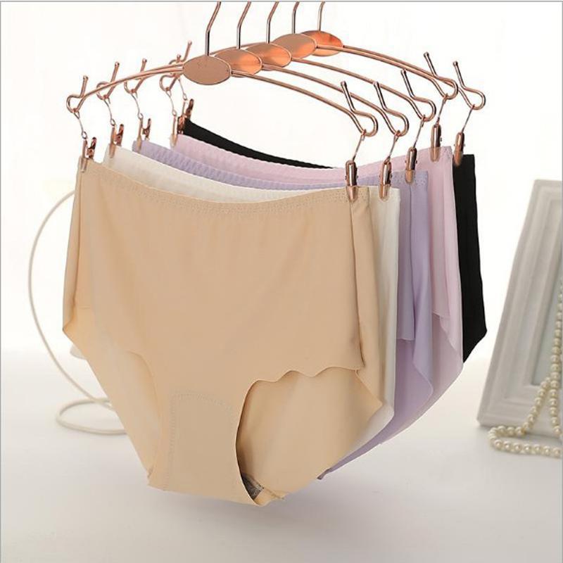 6 pcs/lot Plus size Seamless Brief High Waist Panties Boyshort Underwear Women Sexy Girl Ice Silk Thong Casual Hot Sale