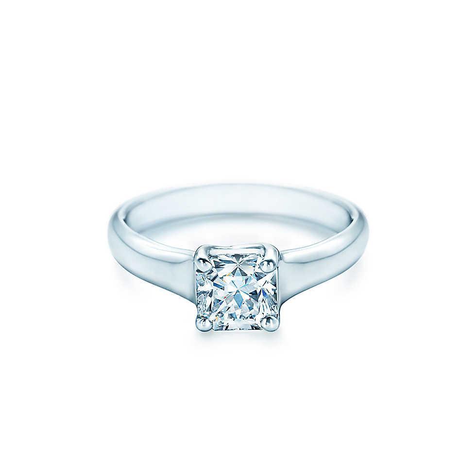 1CT Anelli di diamanti sintetici a taglio perfetto per le donne Anelli in argento sterling PT950 Anello di fidanzamento placcato in oro bianco stampato