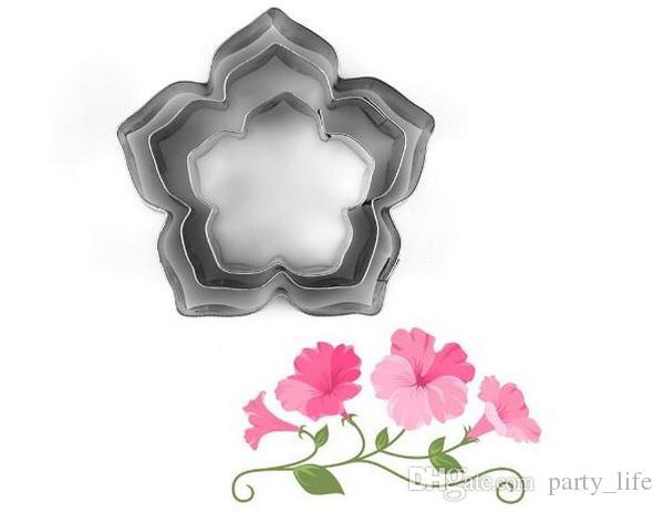 3 TEILE / SATZ Petunie Blütenblätter Edelstahl Kreative Plätzchenform Gestanzte Form Fondantkuchenform Schneiden, 10 sätze / los