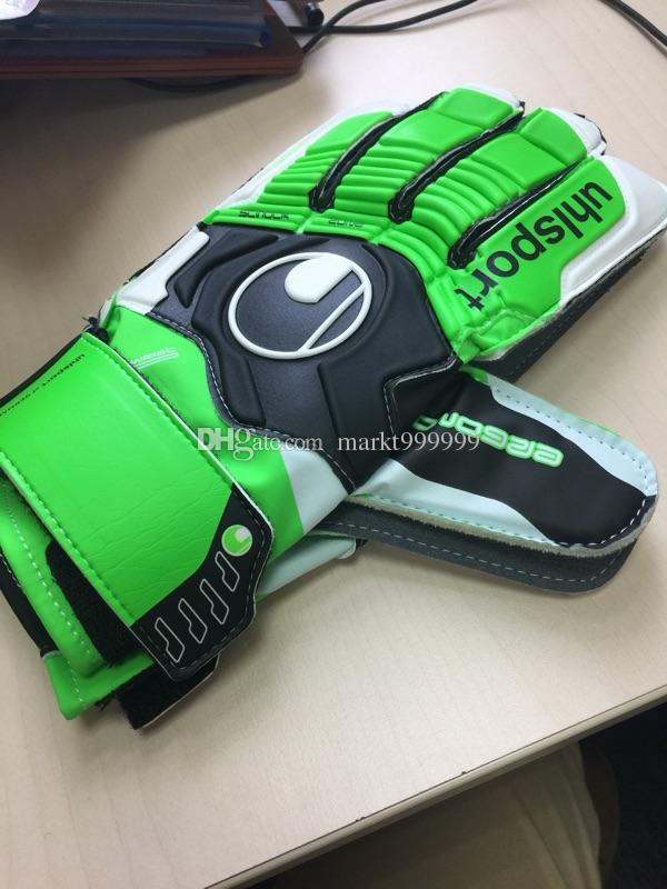 2016 Newest Adult Genuine Uhlsport Back PU Soccer Goalkeeper Gloves Men's gloves without finger guard Slip resistant Professional palm Latex