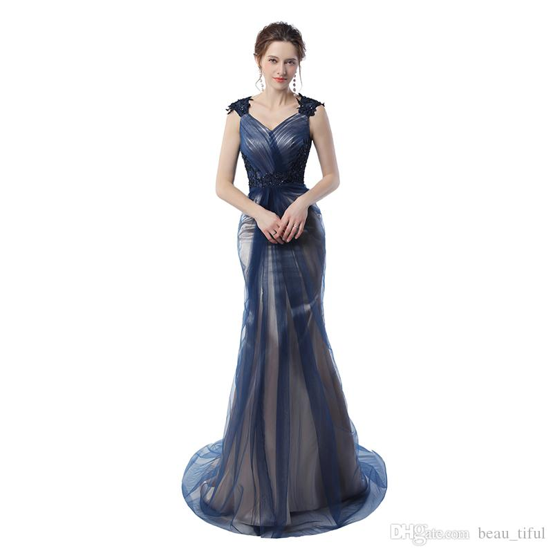 Real Pictures Navy Blue Mermaid Evening Gowns 2020 Grey Color Vintage Party Gowns Prom Dresses Free Shipping