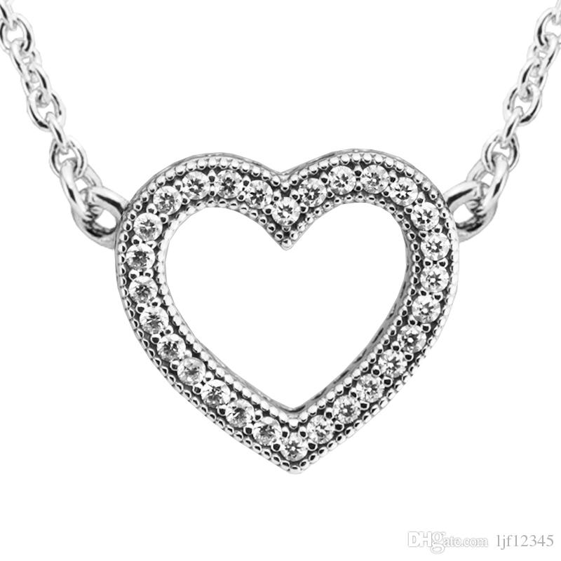 Valentine's Day Loving Hearts With Clear CZ necklace & pendants sterling silver jewelry for woman jewelry making chorker necklace with charm