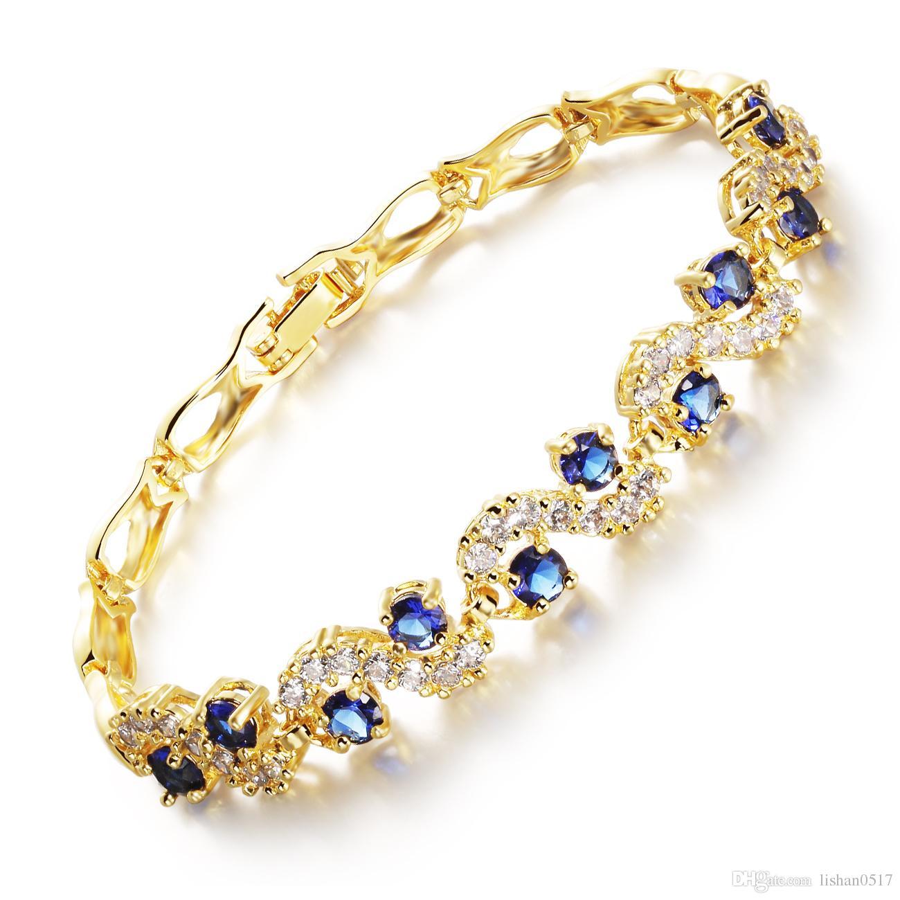 Vendita calda Donna Bianco / Blu Zircone Cubico Braccialetto a maglia Link Accessori Moda 18K Placcato oro Gioielli da sposa MHKS459