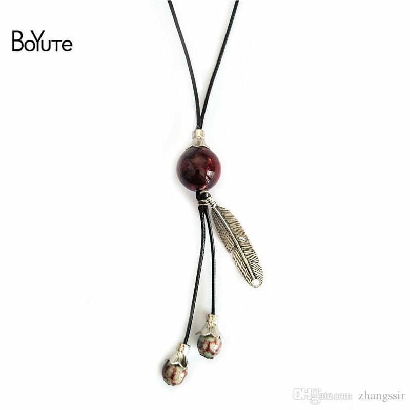 BoYuTe 5Pcs Diy Handmade Knitted Variable Ceramic Beads Pendant Necklace Women Costume Jewelry Bubble Bag For Protection