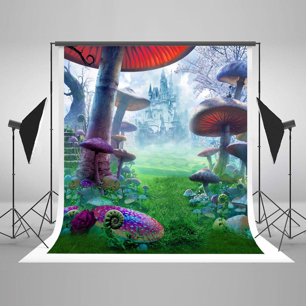 5x7ft (150x220cm) sem rugas crianças aniversário fotografia fundo castelo floresta venenoso cogumelos fotografia cenários cênicos seamles