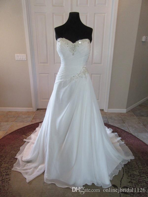 Discount Gorgeous Chiffon A Line Wedding Dress Sweetheart Beaded ...
