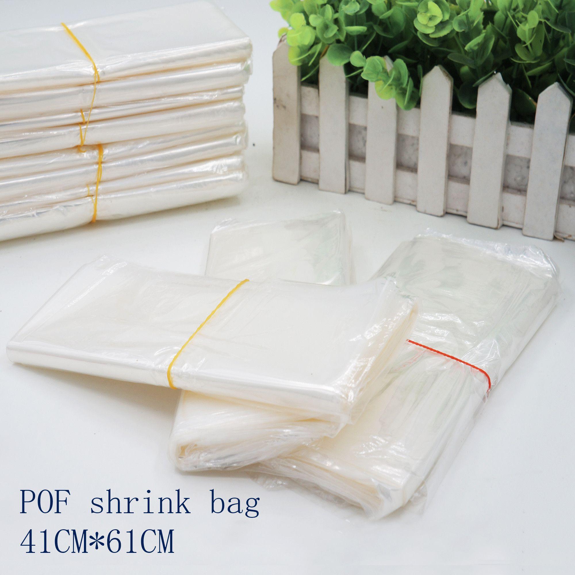 Cosméticos Shrink Wrap Sacos 100 / Calor filme Embalagem 41 * 61CmPof Wrap Bag Wrap Open White Seal POF Plástico Saco De Armazenamento Pacote AGPD