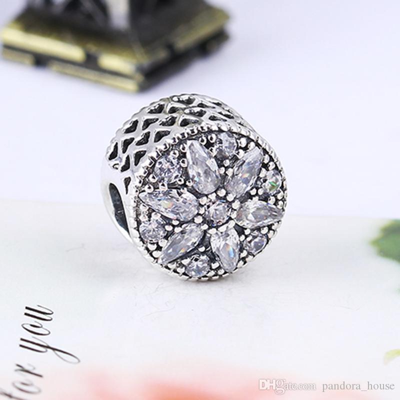 Gros Real 925 Sterling Silver Non Plaqué RADIANT BLOOM CZ Charmes Européennes Perles Fit Pandora Serpent Chaîne Bracelet DIY Bijoux