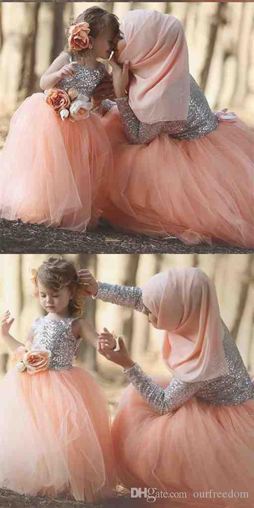 Cute Lovely Ball First Communion Dresses For Girls Flowers Sequins Kids Evening Gown Flower Girl Dresses For Weddings