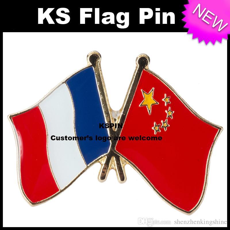 Il perno 10pcs della bandierina del distintivo della bandierina di amicizia della Cina Francia molto trasporto libero 0003