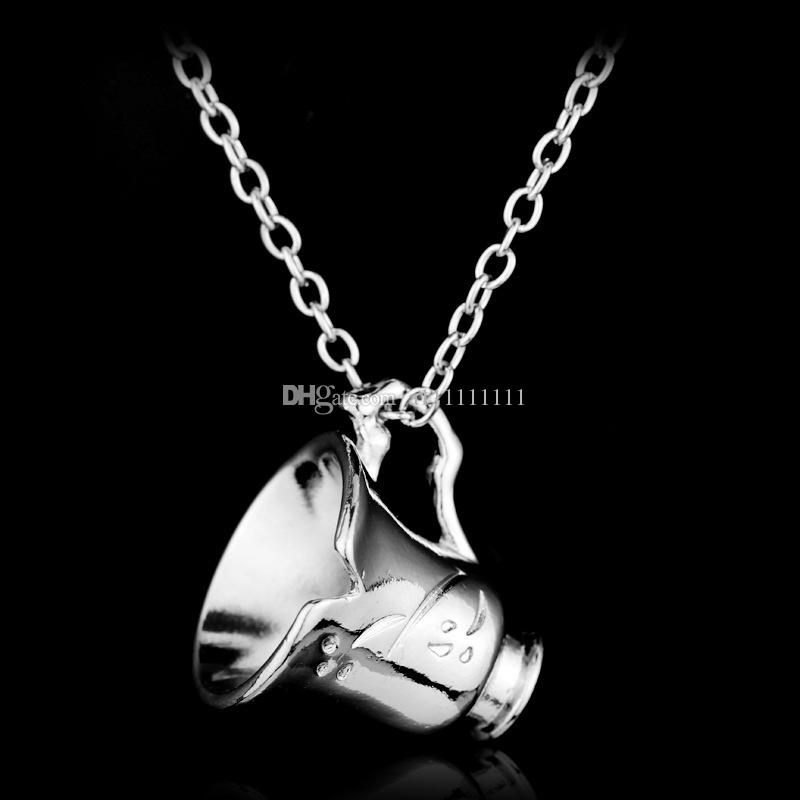 Free Shipping Once Upon a Time Rumbelle Bella Clip Tea Cup Pendant Alloy Necklace Fashion Charm Movie Jewelry Broken Cup Necklace