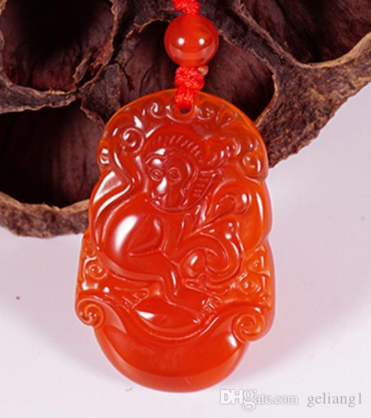 Handmade carving of natural red agate rich monkey (12 Chinese zodiac). Pendant necklace pendant