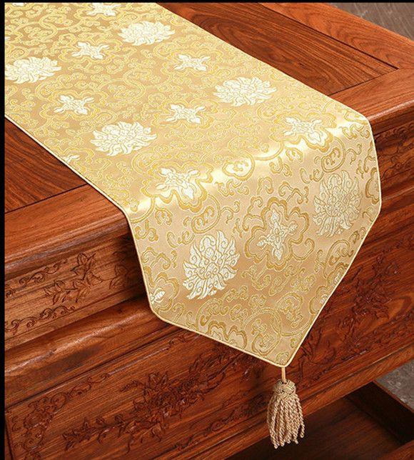 250x33cm 멋진 실크 새틴 테이블 러너 중국 스타일의 사각형 다람쥐 테이블 천으로 주자 커피 식탁보 다이닝 테이블 매트