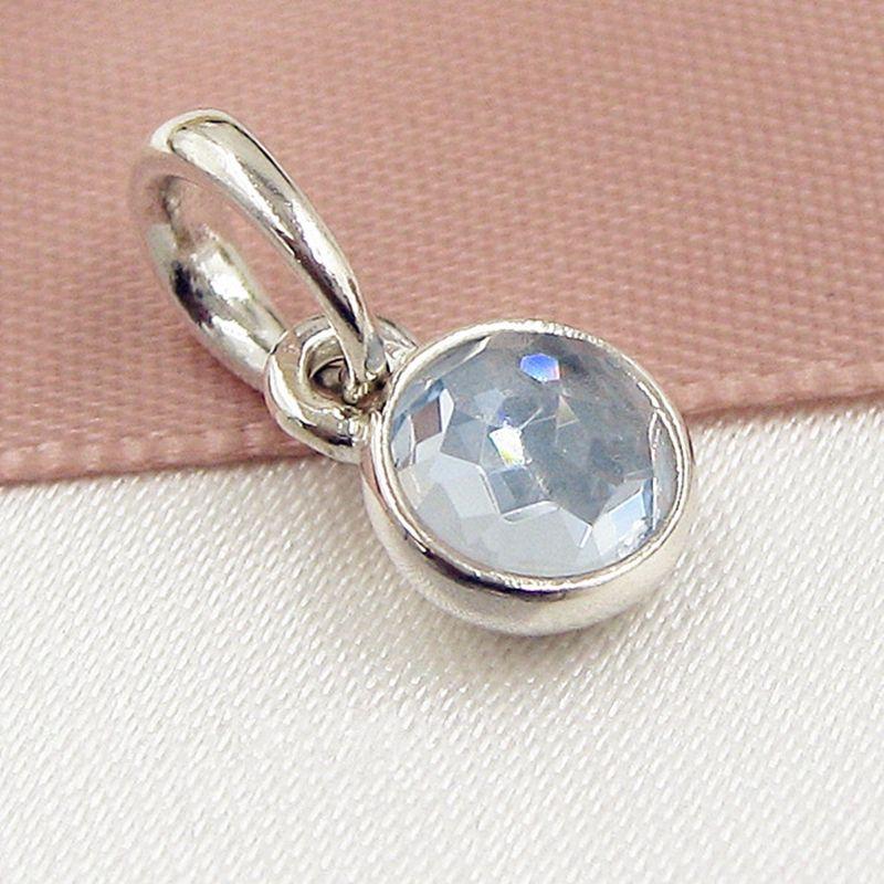 2017 Branello allentato 925 Sterling Silver March Droplet Ciondola il fascino con la gemma adatta al pendente europeo della collana del braccialetto dei monili di Pandora