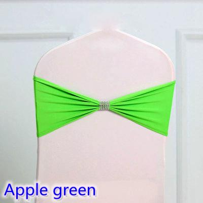 Apple green colour tie bands Lycra sash chair sash Bow tie ribbon For Wedding Party Banquet Decoration for sale with shiny belt