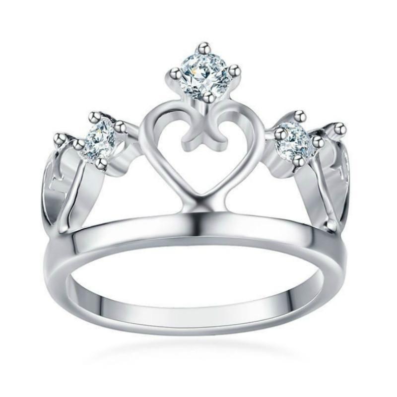 한국어 패션 레이디 14MM 크라운 반지 할로우 하트 모양의 실버 반지