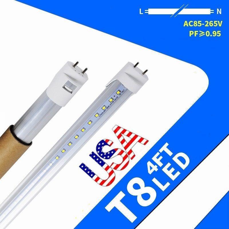 US Stock + 4FT T8 LED-rör Lyser 22W 2100 Lumens Kallvit 4FT LED-lampor Tubes lampa AC 85-265V