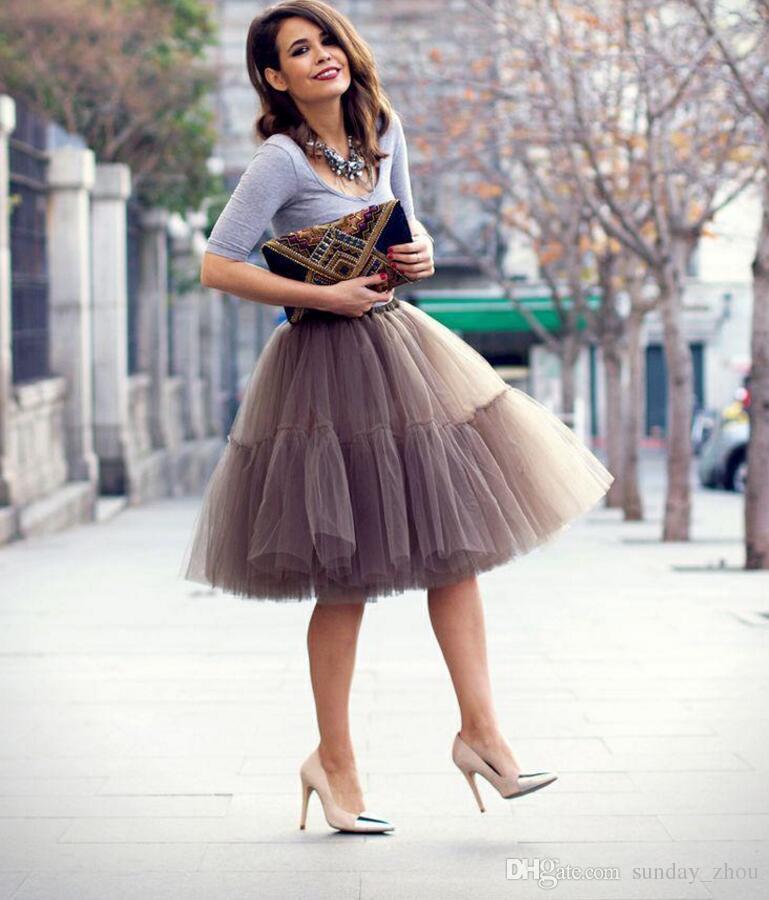 aa485520c Compre Primavera Maxi Faldas De Tul Por Encargo Más Tamaño Faldas Cortas  Para Las Mujeres Hasta La Rodilla Brown Chocolate Vestido De Bola Faldas De  ...