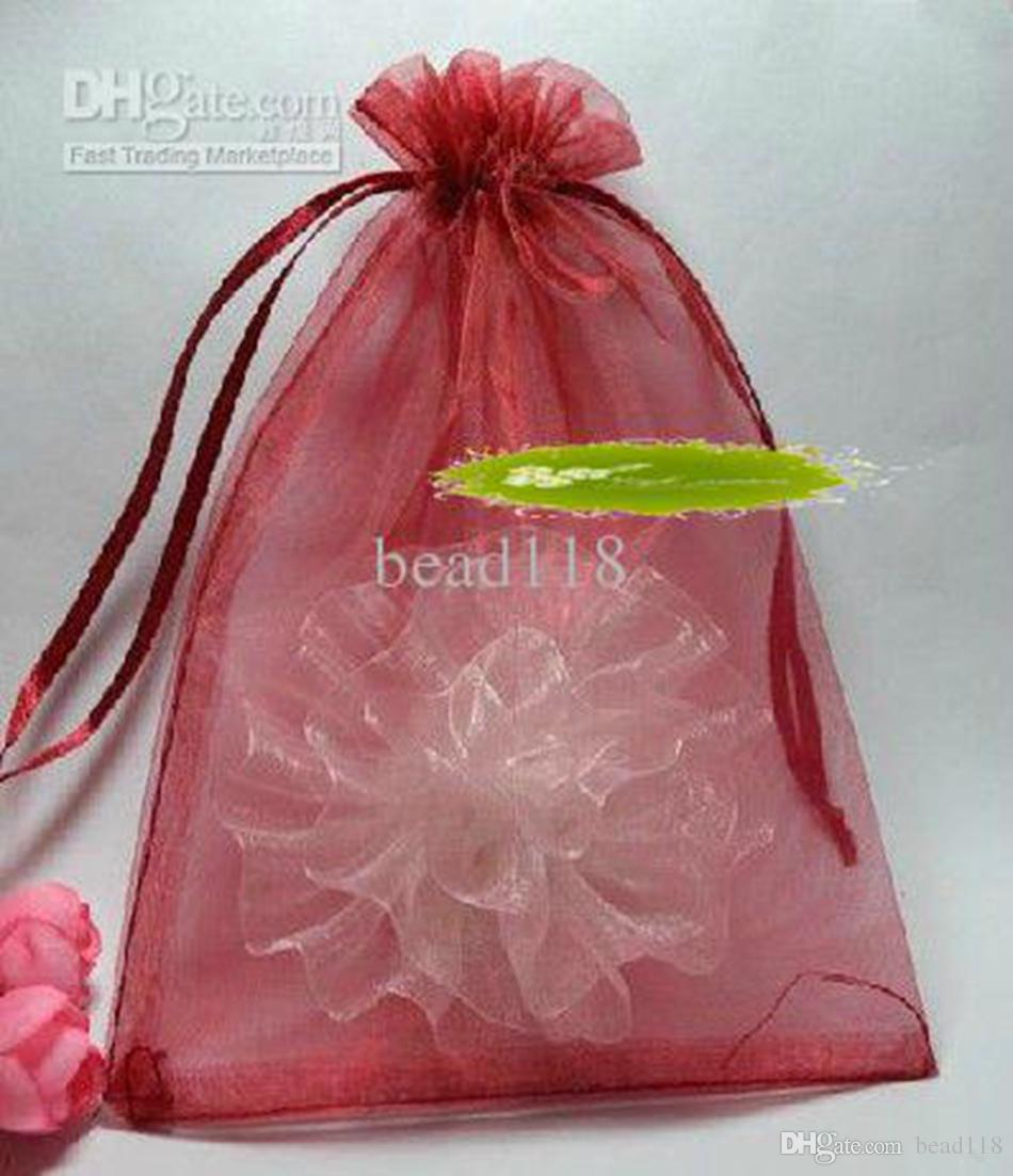Hot ! 100pcs 7x9cm 9x11cm etc. Sheer Drawstring Organza Jewelry Pouches Wedding Party Christmas Favor Gift Bags (Wine Red)