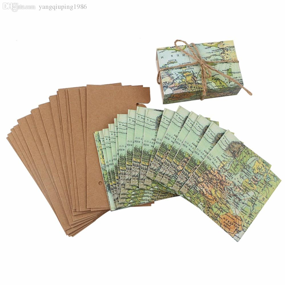 Novelty world map gift box for christmas decorations kraft paper travel inspiring favor box with map print cover and vintage kraft slide drawer all tied with a double natural twine bow packing list 1 x 100pcs map gumiabroncs Image collections