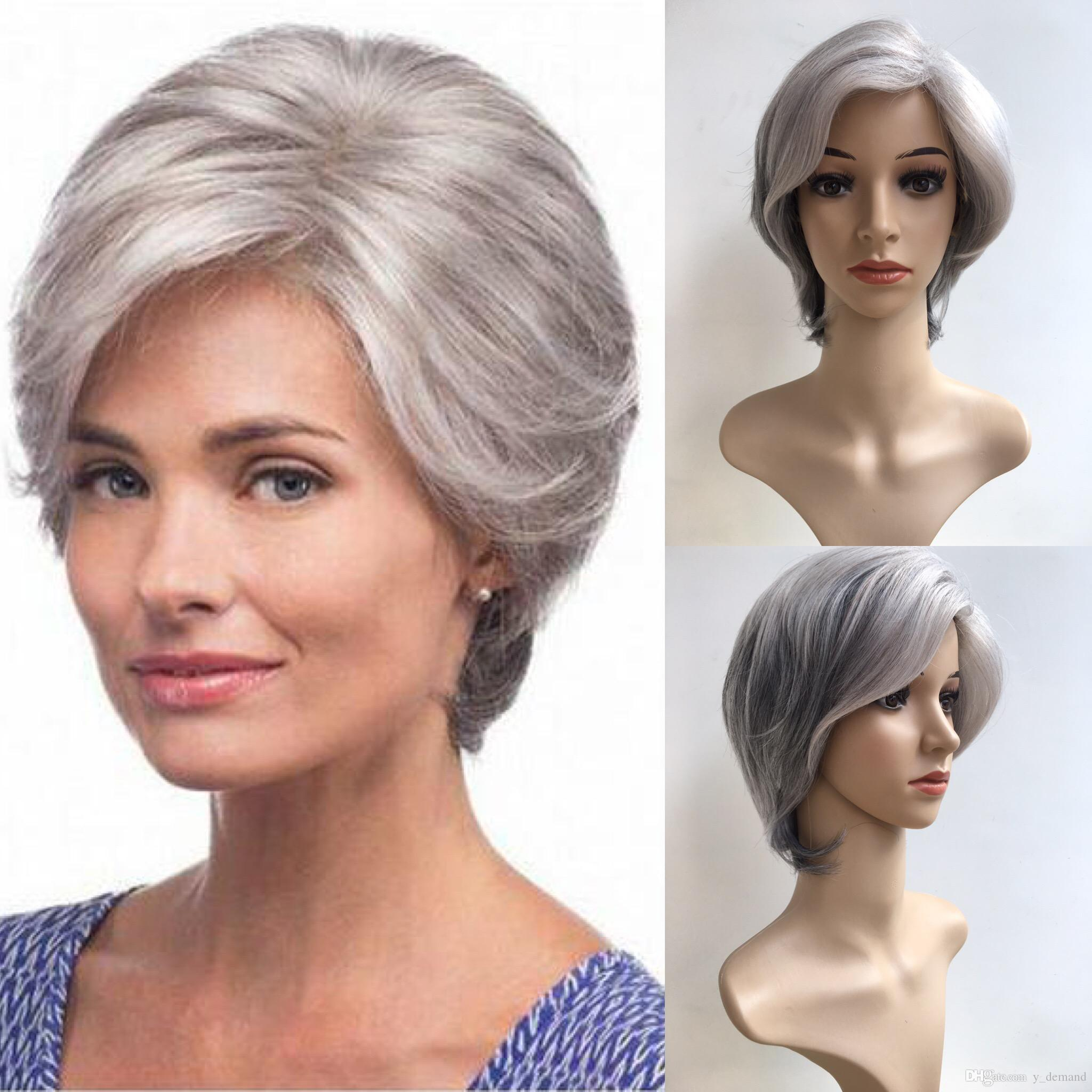 Fashion Short Silver Grey Afro Wig Straight Synthetic BOB Wigs Natural Hair for Old Women None Lace Hairstyle In Stock