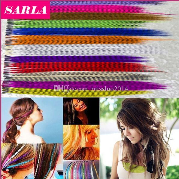10000pcs/lot Colorful Length 16inch 40cm 14 colors Synthetic Available Grizzly Loop Feather Hair Extensions Hairpiece