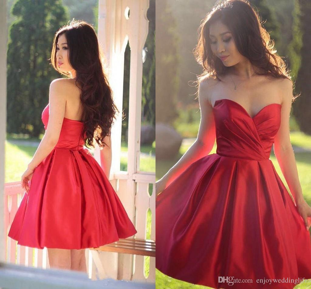 Little Red Mini abiti da cocktail corto 2017 New Sweetheart Ruffles Zipper Back Short Prom Dresses Abiti da sera da sera Cheap Under 100