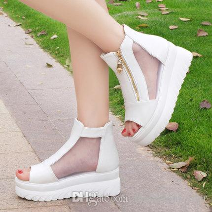 wholesaler free shipping factory price hot seller wedge heel peep toe platform women shoe roma style mesh &Lace sandals 173