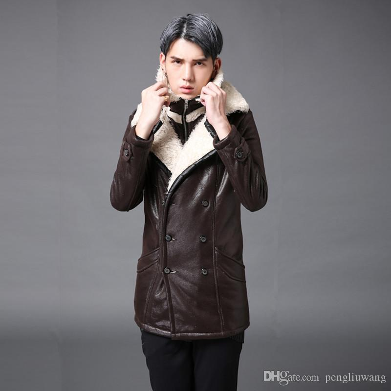 Winter warm plus velvet trench coat the mens leather jackets casual overcoat men style new arrival warm fur one piece faux two piece brown