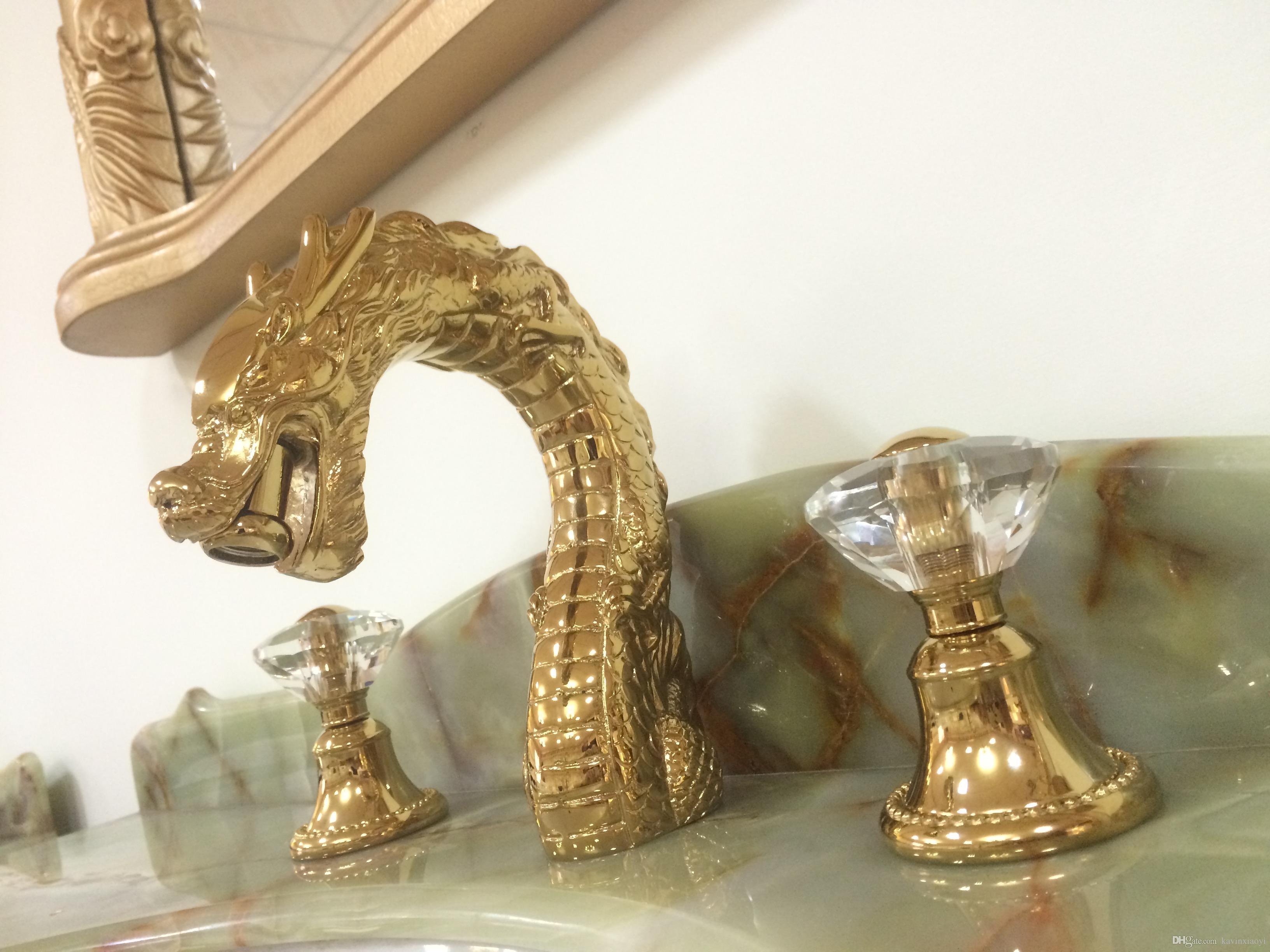 """NEUE GOLD pvd farbe massivem messing bad 8 """"weit verbreitet 3 löcher dragon waschbecken waschbecken Wasserhahn Mischbatterie Deck montiert kristall griffe"""