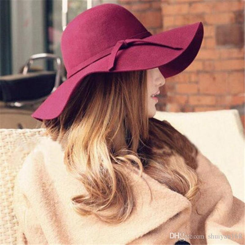 Wide Brim Beach Retro Hats 9color British Style Summer Ladies Women Wool Felt Fedora Floppy Cloche Bowknot Sun Hat Leisure Trend Joker Caps