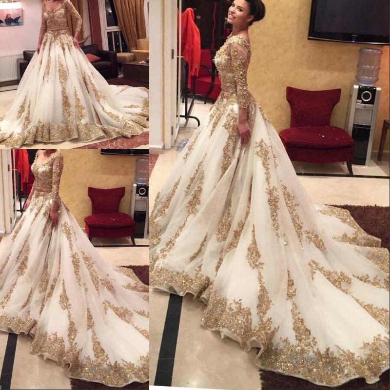 İki Adet Gelinlik Uzun Kollu Gelinlikler Seksi Illusion Korse Altın Boncuklu Aplikler Düğün Abiye 2020 Elbiseler Giyim