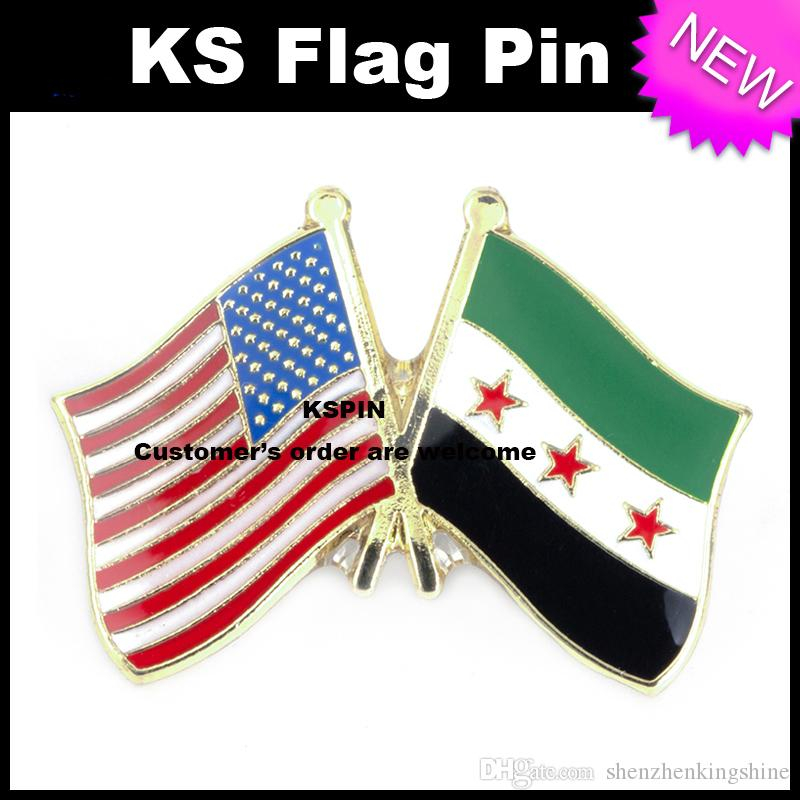 Il perno 10pcs della bandiera del distintivo della bandiera di amicizia della Siria degli Stati Uniti un sacco Trasporto libero XY0003