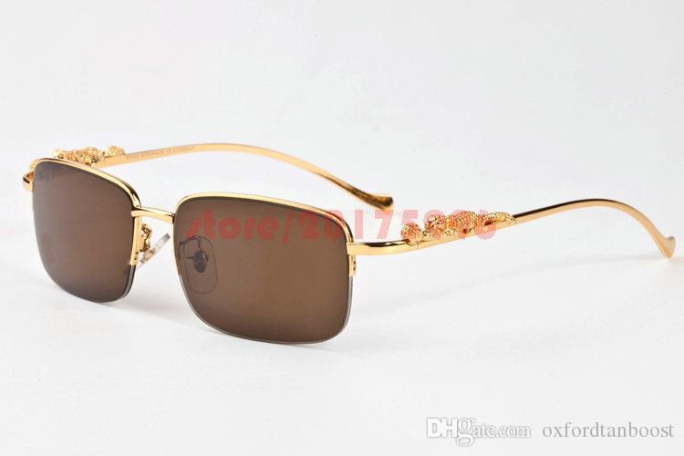 Marke Designer 2017 Lunettes Herren Sonnenbrille Gold Metall Leopard Rahmen Semi Randlose Buffalo Horn Gläser Klare Linse Lunettes De Soleil