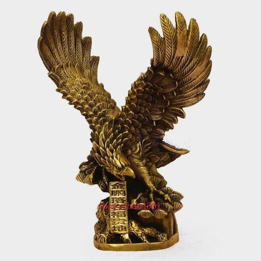 Chinois En Laiton Cuivre répartir les ailes Eagle Hawk Oiseau Chiffres Statue