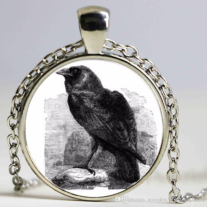 Vintage jewelry Collares Crow art pattern Long Necklace rook Sweater Chain silver plated Pendant Raven gifts necklace women