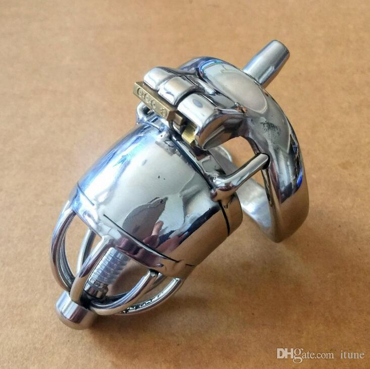 New lock Male Bondage Chastity belt Device Stainless Steel Cock Cage BDSM Sex Toys Cockcage with plastic catheter S038plus