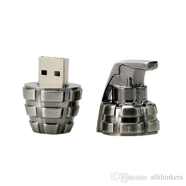 Mini metal retro hand grenade USB Flash drive 64gb ,Creative weapons grenade U disk military gift 16GB USB Flash drive