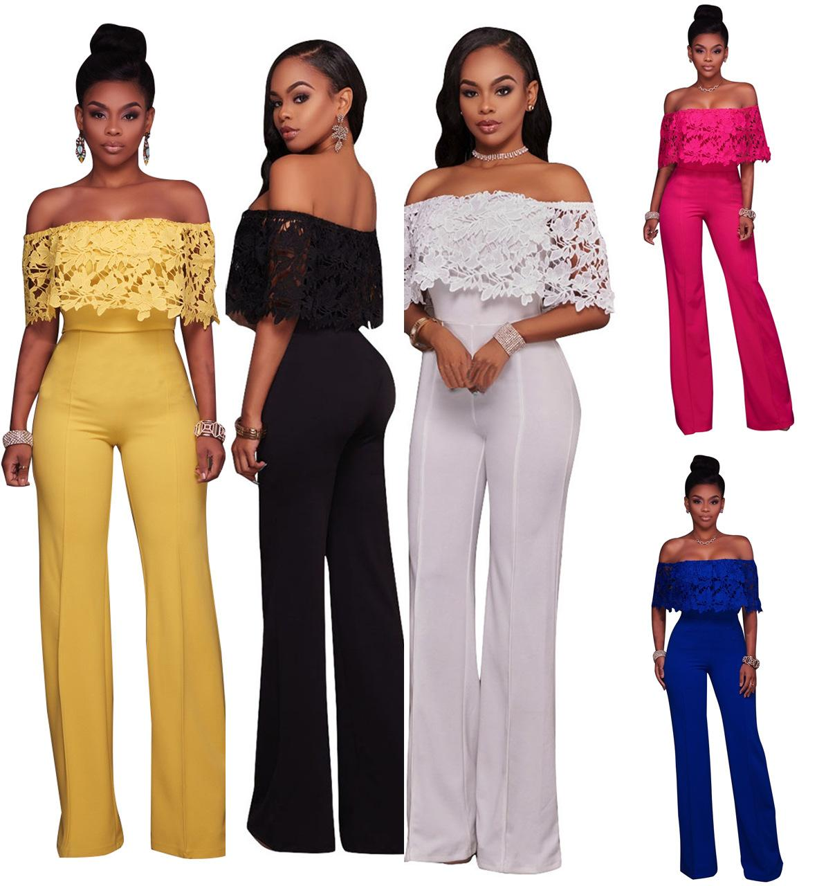 4a414eb414f Sexy Women Off Shoulder Elegant Jumpsuit Slash Neck Lace Long Rompers  Jumpsuits Backless Full Length Wide Legs Overalls