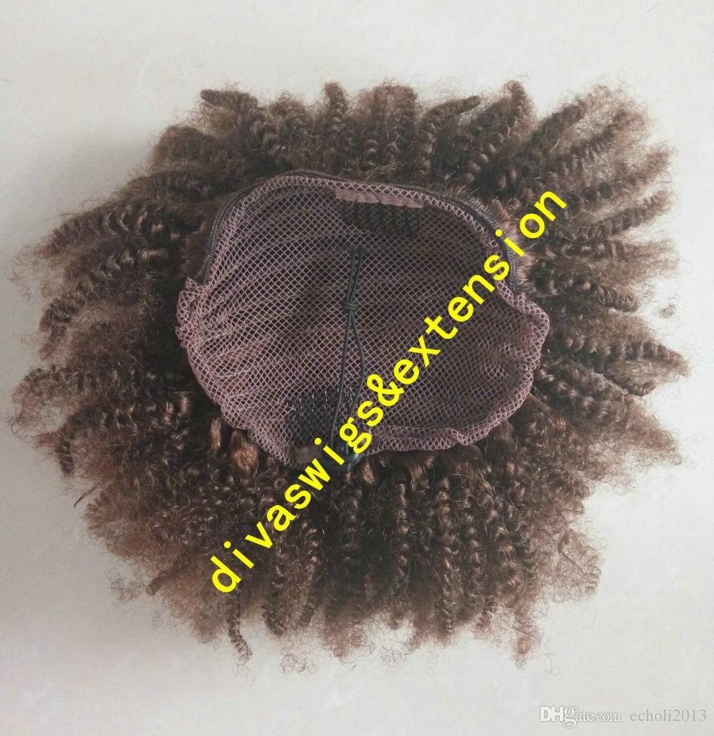 Estensione di coda di cavallo con coulisse da 120 g, estensione dei capelli ricci crespi neri afroamericani corti neri, coda di cavallo umana