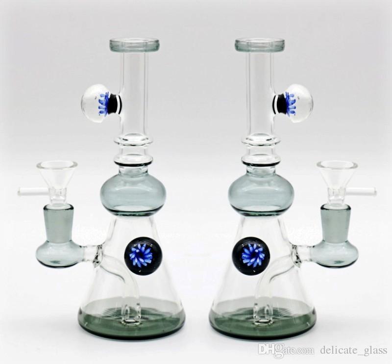 Реальные изображения ресайклер нефтяные вышки стеклянные бонги 20см высокий сустав 14.4 мм стакан бонги водопроводные трубы с Noctilucence мяч стеклянный Бонг