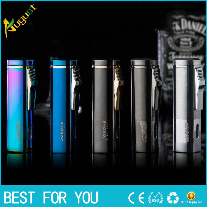 JOBON High quality windproof metal lighter jet torch lighter flaming triple fire gas lighter with gift box