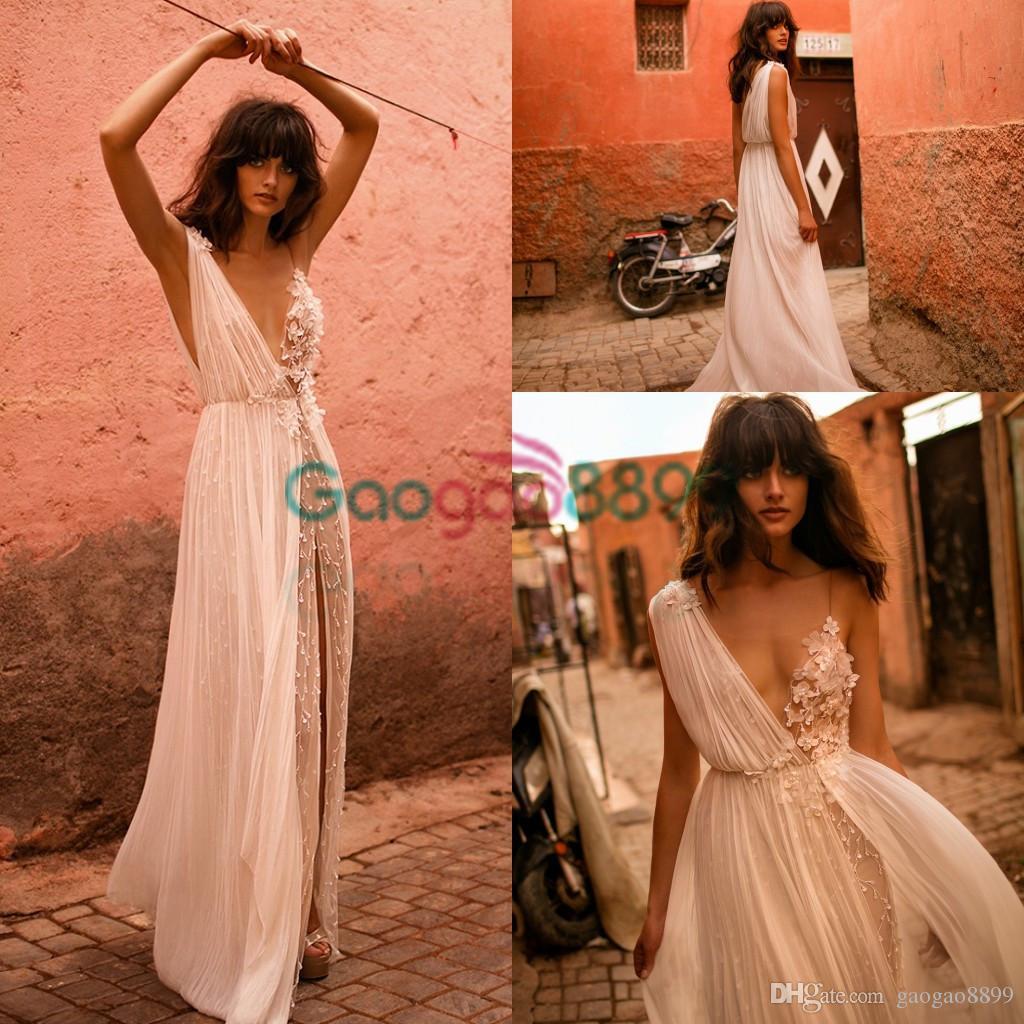 Liz Martinez Sexy Boho split Wedding Dresses 2019 V-Neck See-Through Chiffon Flower Pearls A-Line Beach Wedding Vestido de Noiva Praia