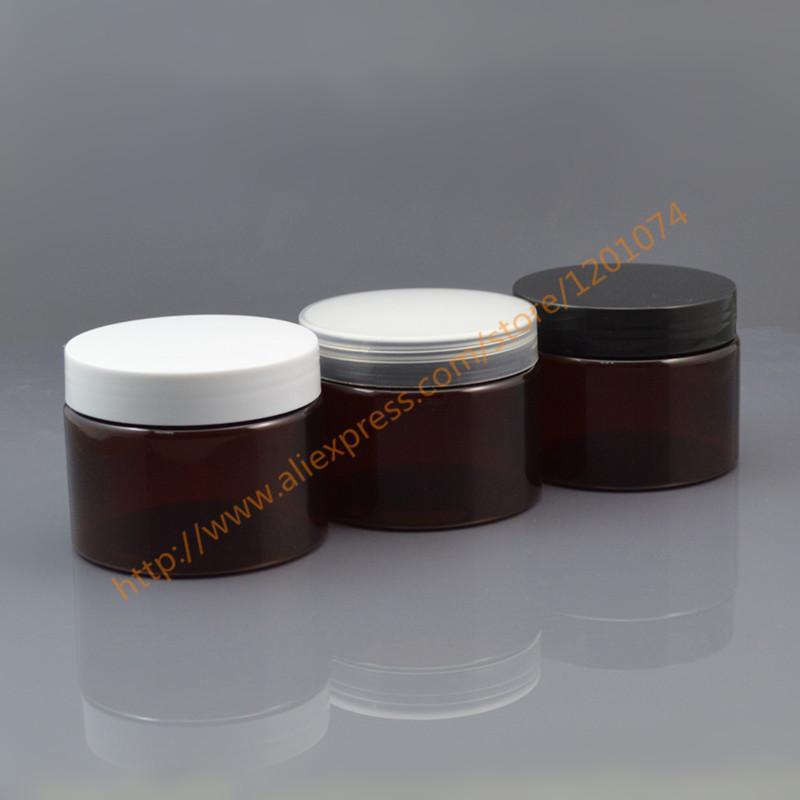 Emballage cosmétique Bouteille en plastique brun / ambre 150g Bocal à crème PET 150ml Bocal à nourriture avec bouchon en PP blanc / clair / noir