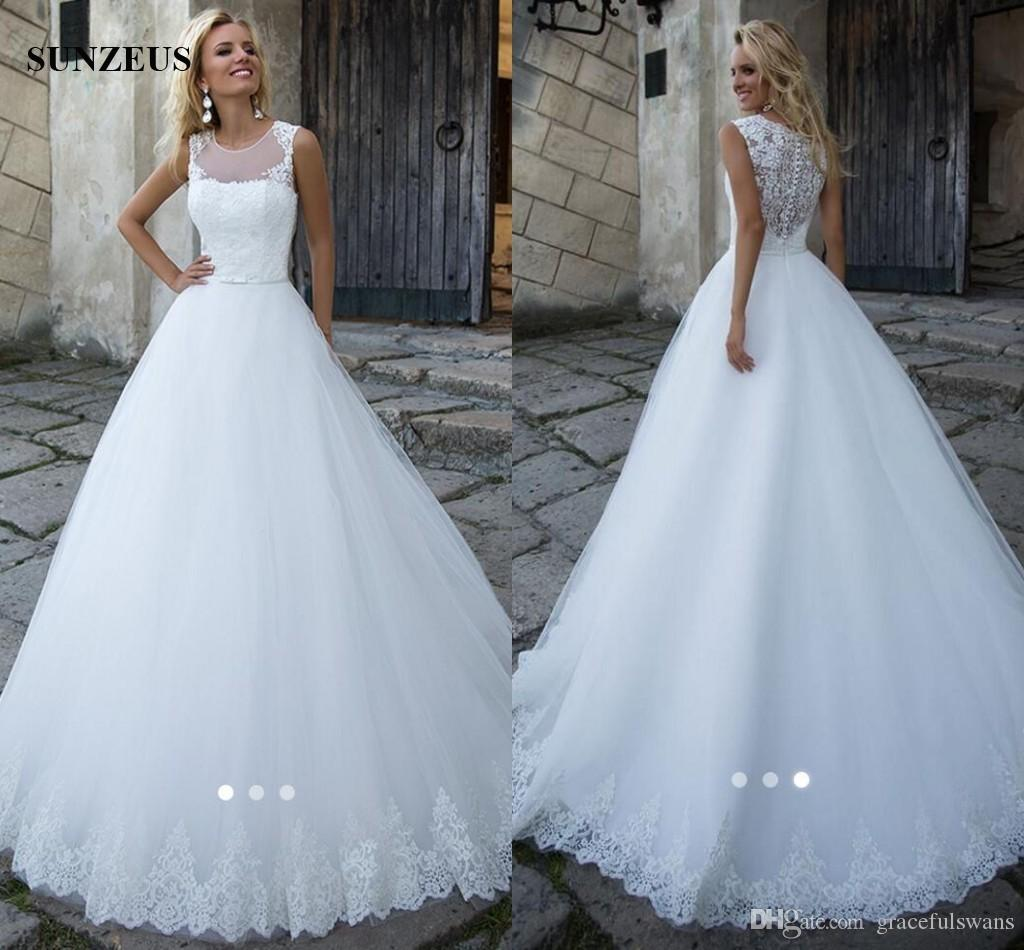 A-line Dropped Waist Floor Length Long Bridal Dresses 2019 Appliques Lace Bodice Puffy Tulle Wedding Gowns Women Marriage Dress