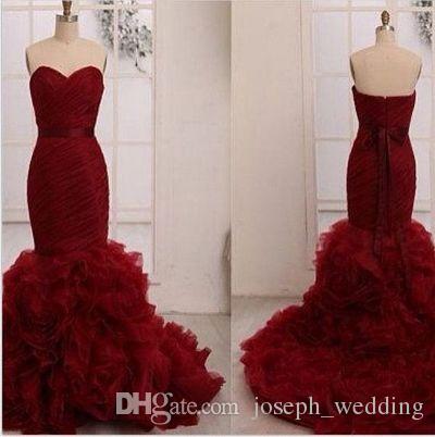 Vimans 2016 Borgogna Prom Dress Sweetheart Lungo Organza Vino Rosso Abiti da sera vestido de festa longo sereia con telai