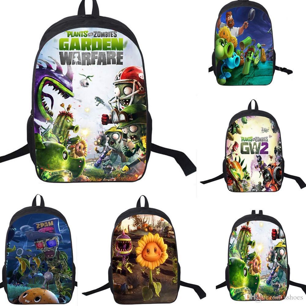 الجملة 16 الحقائب المدرسية الكرتون 3D النباتات مقابل الكسالى على ظهره للجنسين حقائب الكتف الرياضة في الهواء الطلق حقيبة الظهر